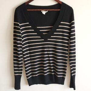 Club Moncaco wool striped deep v neck sweater